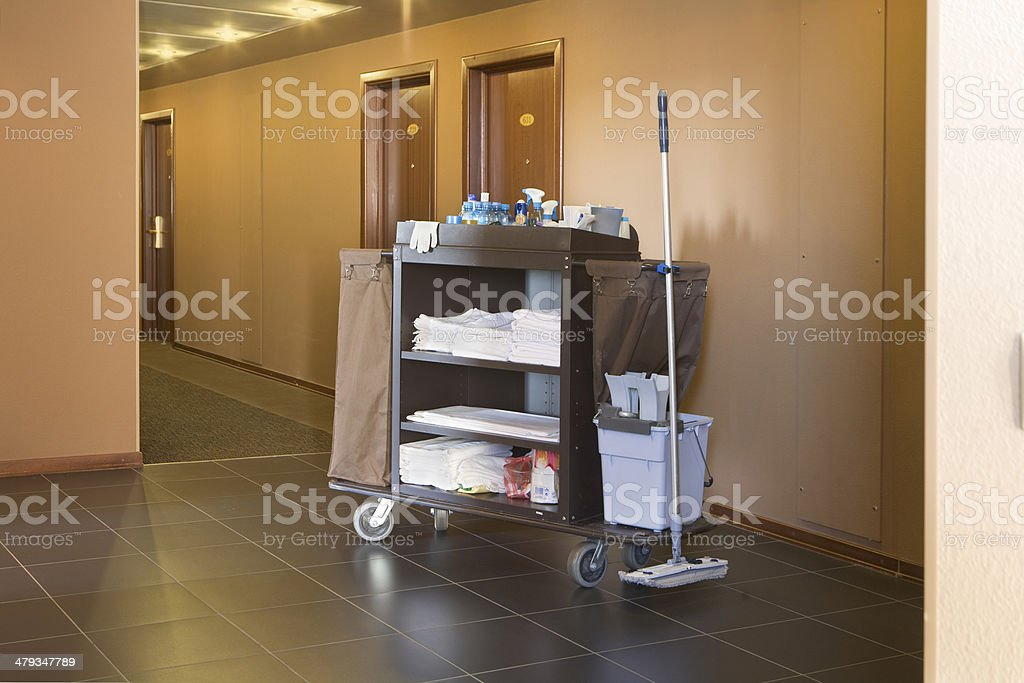 Hotel Housekeeping Cart stock photo