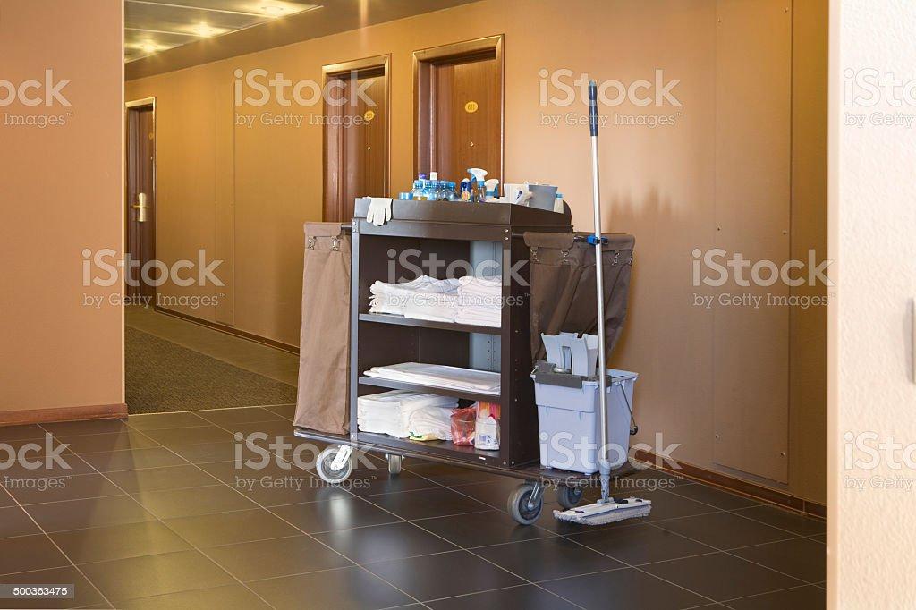 Hotel Housekeeping Cart stock photo