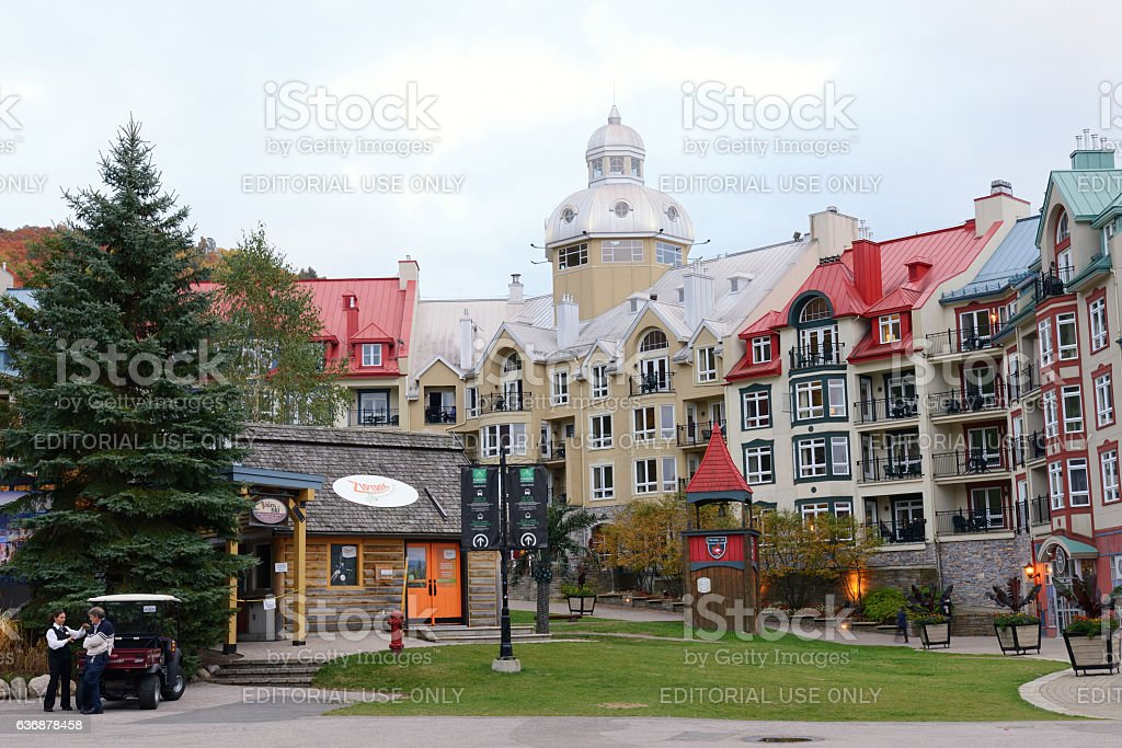 Hotel in Mont Tremblant resort village stock photo