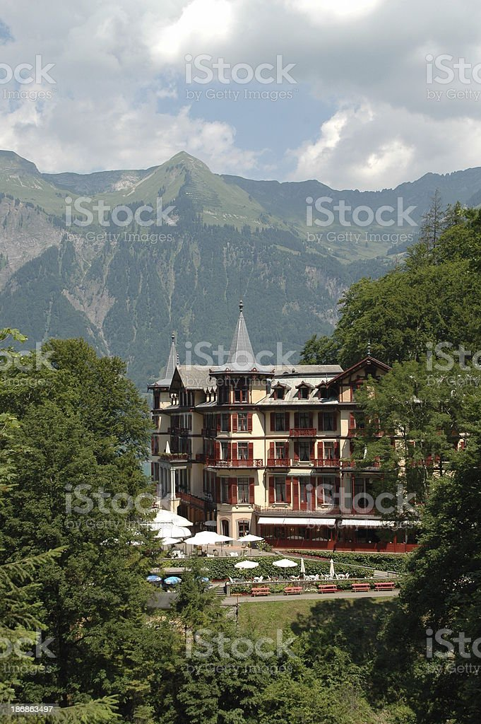 Hotel in Swiss Mountains stock photo