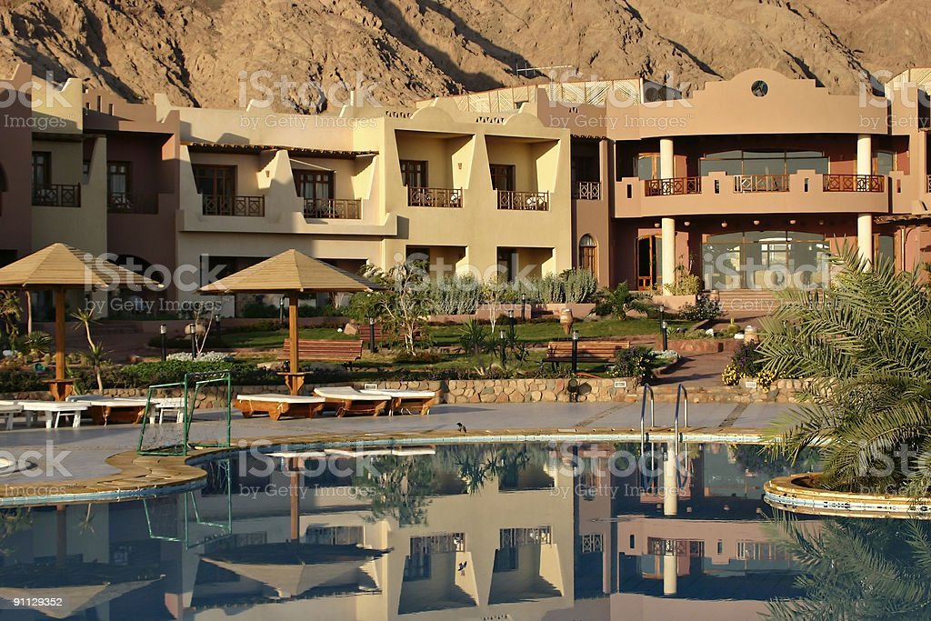 Hotel in the desert. royalty-free stock photo