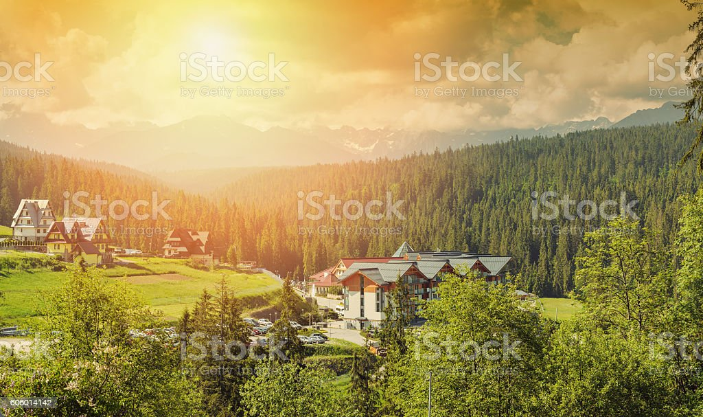 Hotel in the Mountains stock photo