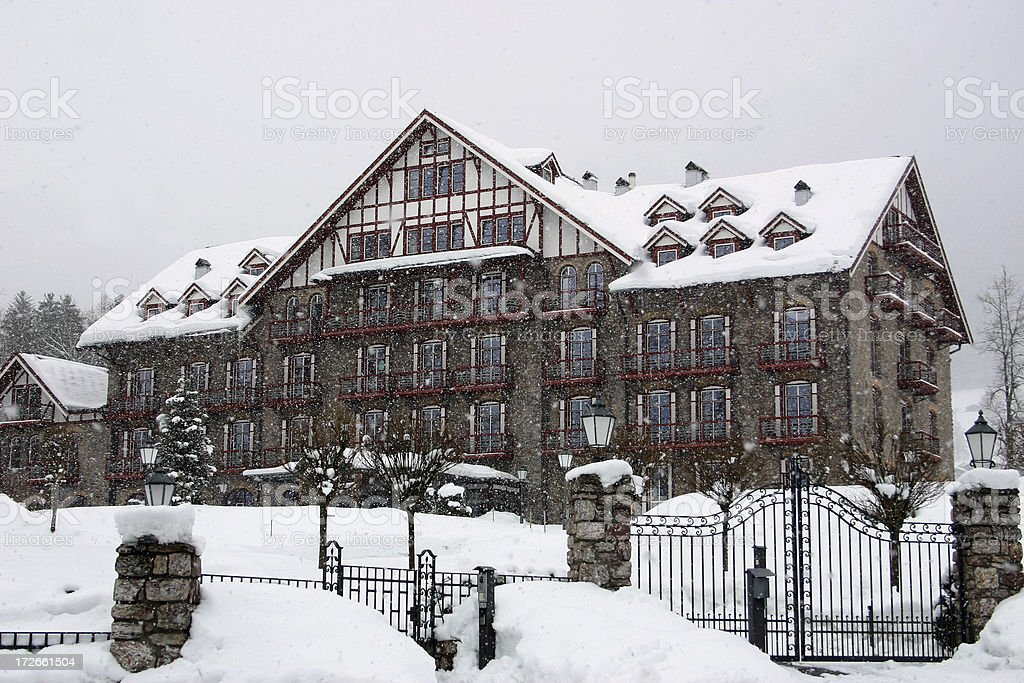 Hotel in the snow stock photo