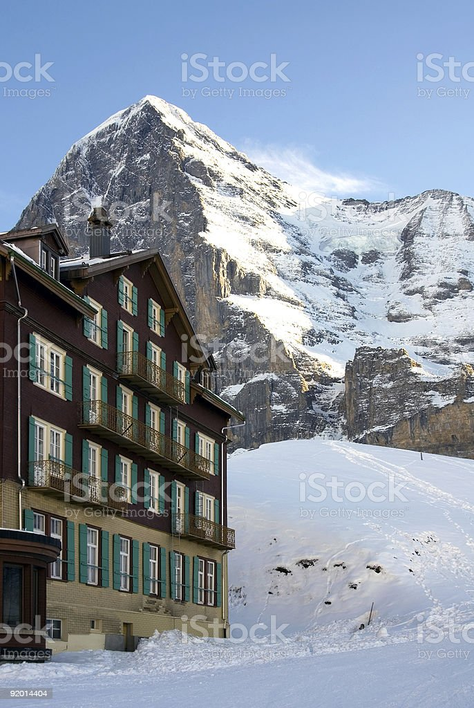 Hotel in the Snow royalty-free stock photo