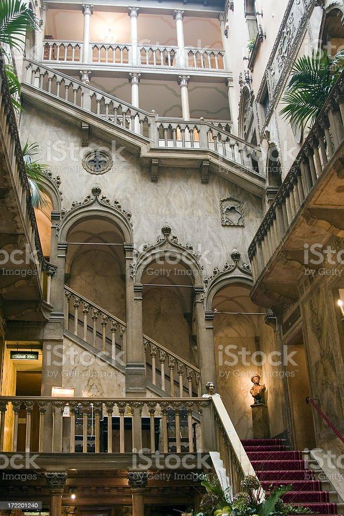 Hotel interior, Venice, Italy. stock photo