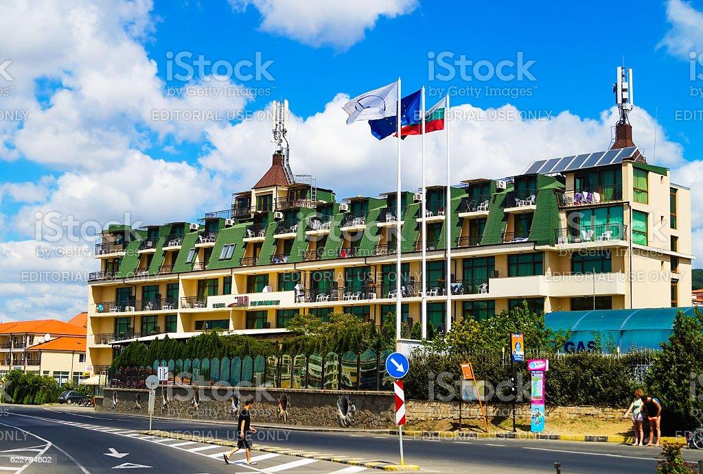 Hotel Julia in Sveti Vlas in Bulgaria stock photo