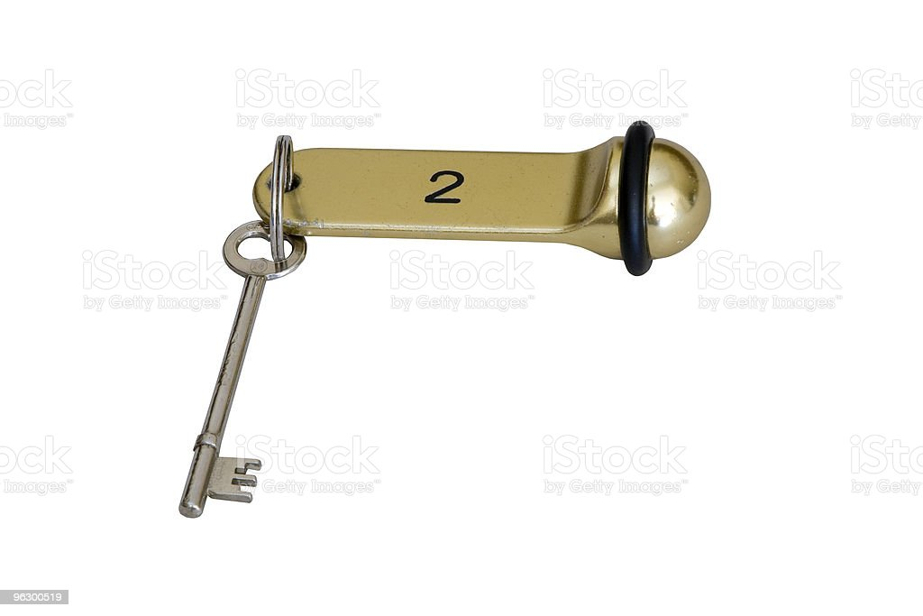 Hotel Key, Old Fashioned, Bed-and-Breakfast, Lodging, European, Skeleton-Key, Isolated royalty-free stock photo