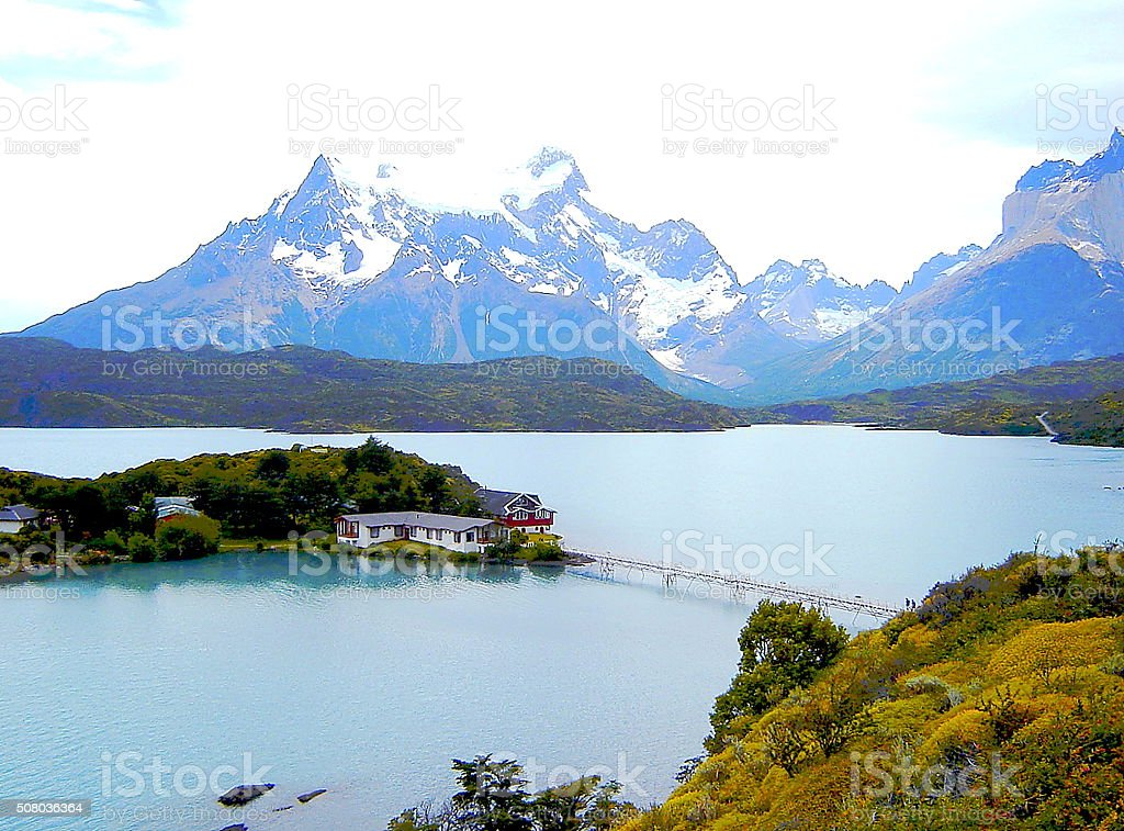 Hotel Lake Pehoe and Torres del Paine, Patagonia Chile stock photo