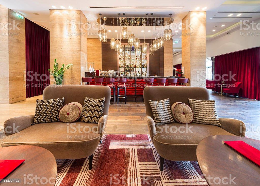 hotel lobby interior stock photo
