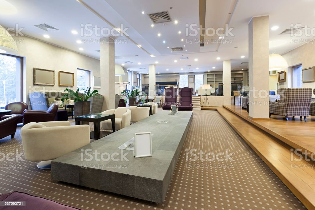 Hotel lobby with comfortable furniture stock photo