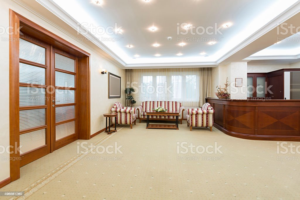 Hotel lobby with reception desk stock photo