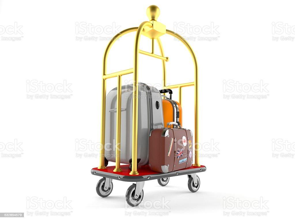 Hotel luggage cart stock photo