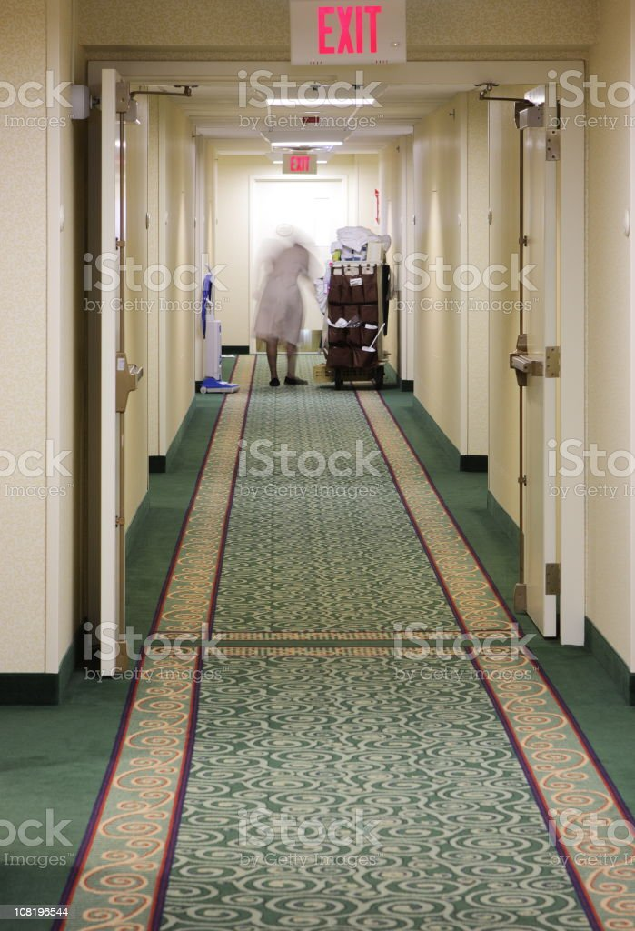 Hotel Maid Cleaning Working Housework stock photo