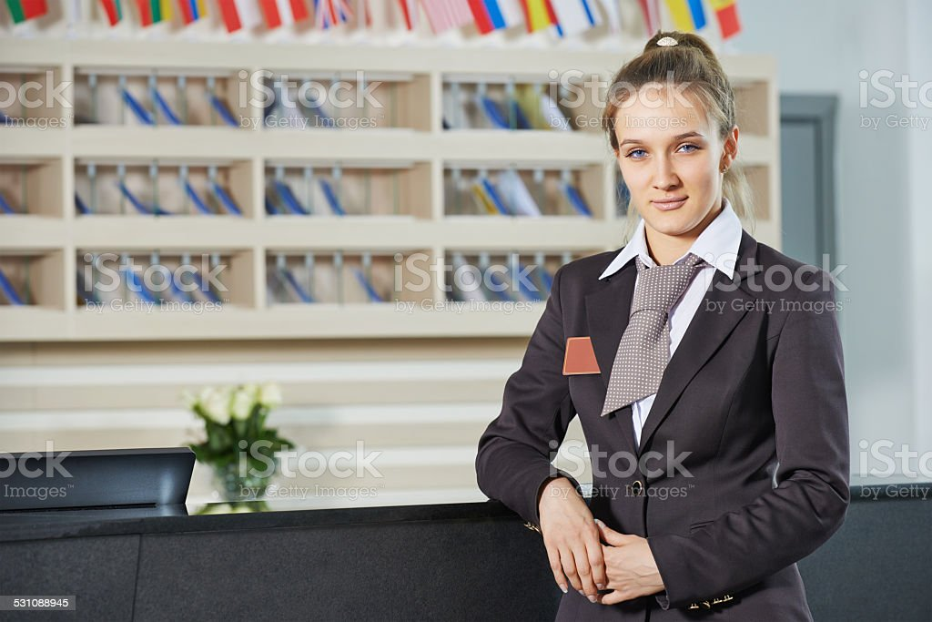 Hotel manager on reception stock photo