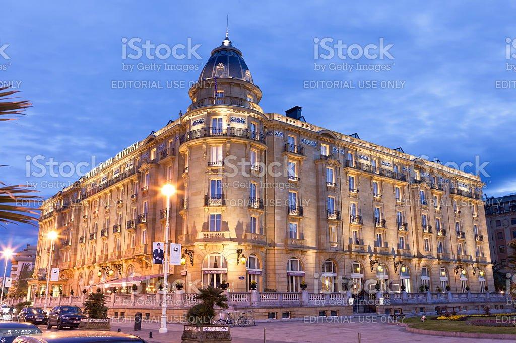 Hotel María Cristina at Sunset stock photo