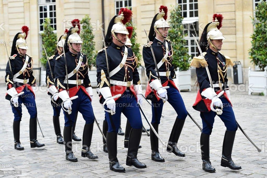 Hotel Matignon Republican Guards of honor stock photo