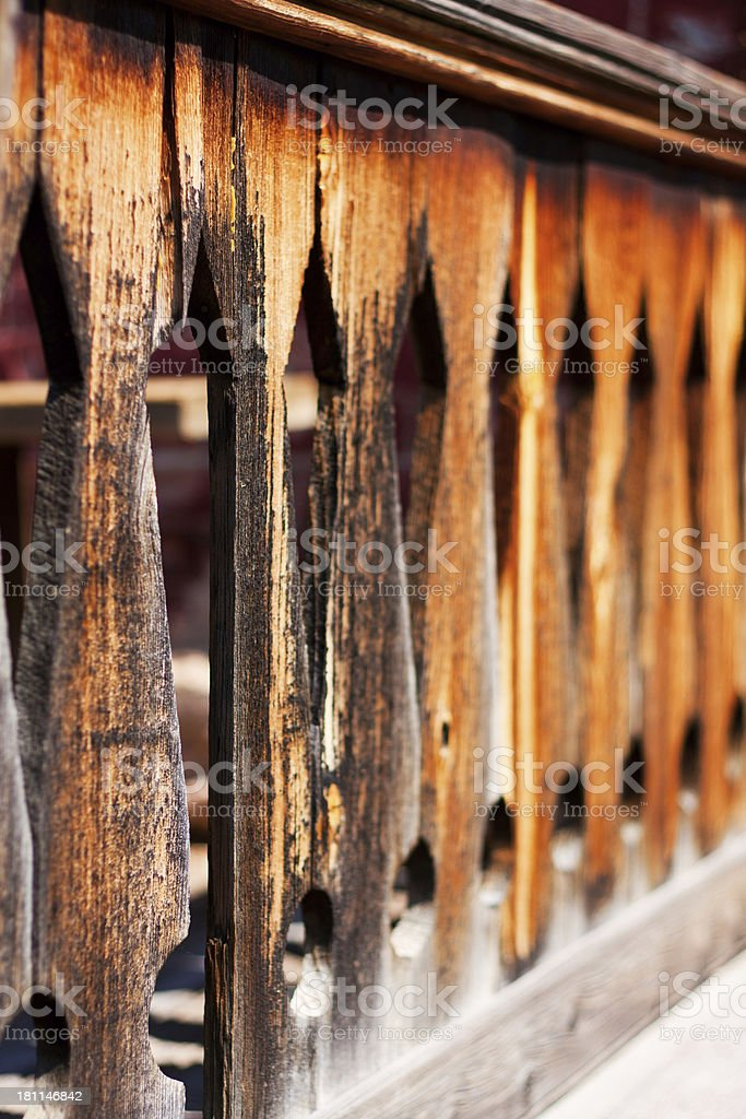 Hotel Meade Porch Railing in Bannack Montana Ghost Town stock photo