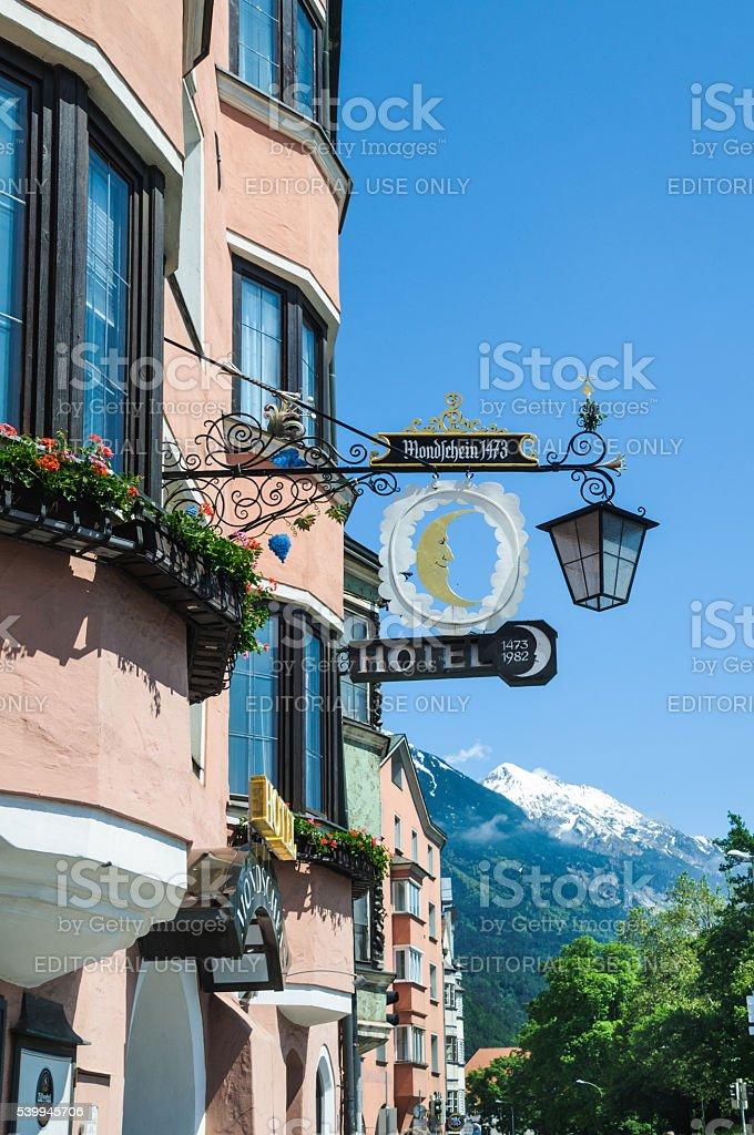 Hotel Mondscheim-Innsbruck stock photo