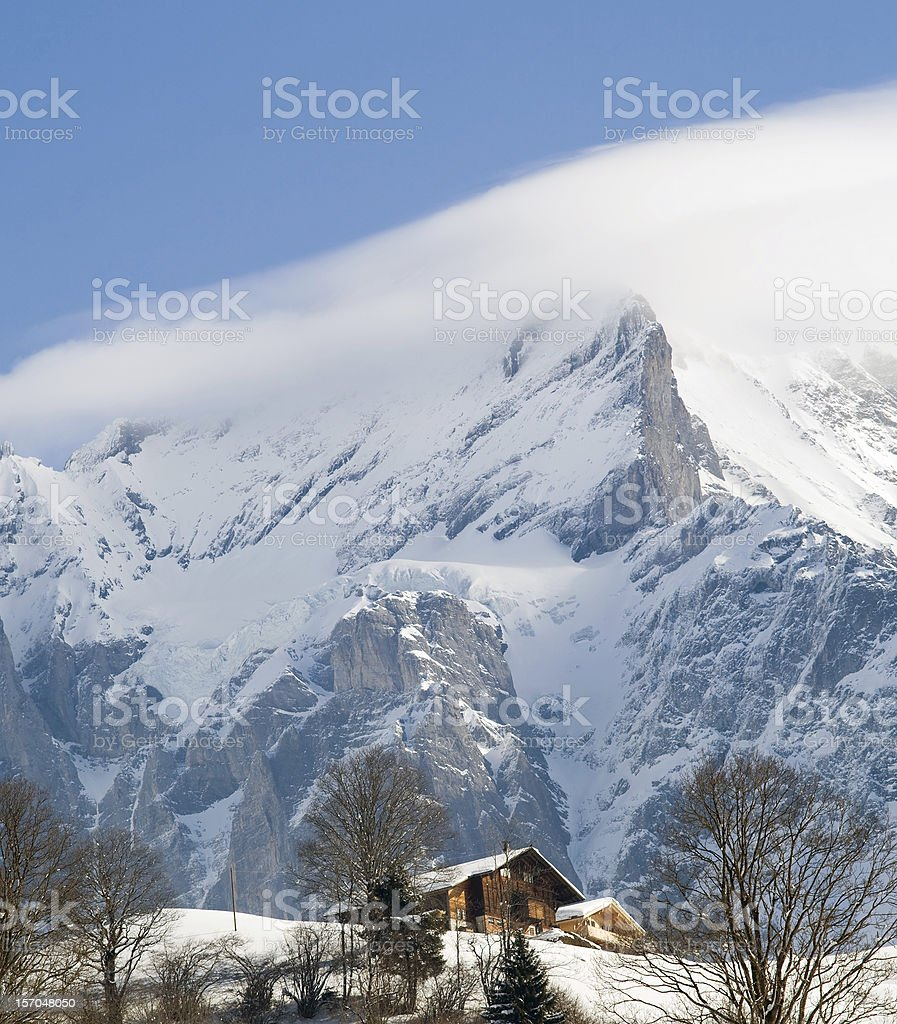 Hotel near Grindelwald ski area. Swiss alps at winter royalty-free stock photo