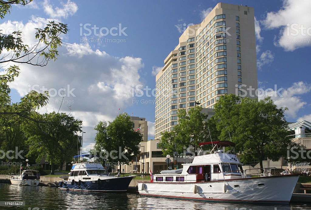Hotel near the Canal Rideau in Ottawa royalty-free stock photo