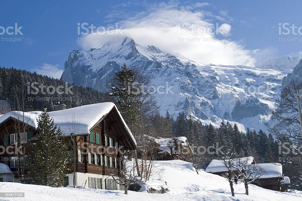 Hotel near the Grindelwald ski area. Swiss alps at winter stock photo