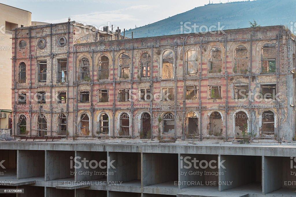Hotel Neretva destroyed during the war stock photo