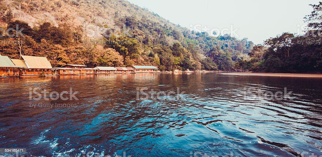 hotel on River Kwai in Kanchanaburi province, Thailand.  Floatin stock photo