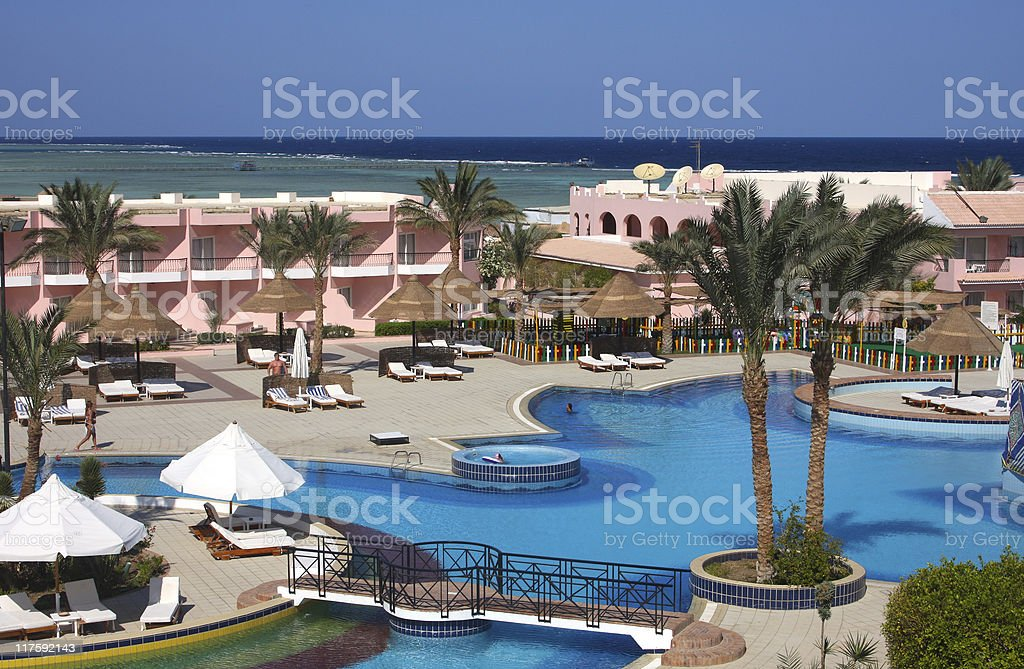 Hotel on shores of  Red Sea royalty-free stock photo