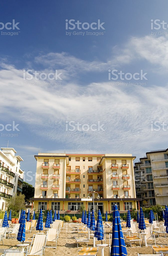 Hotel on the beach royalty-free stock photo