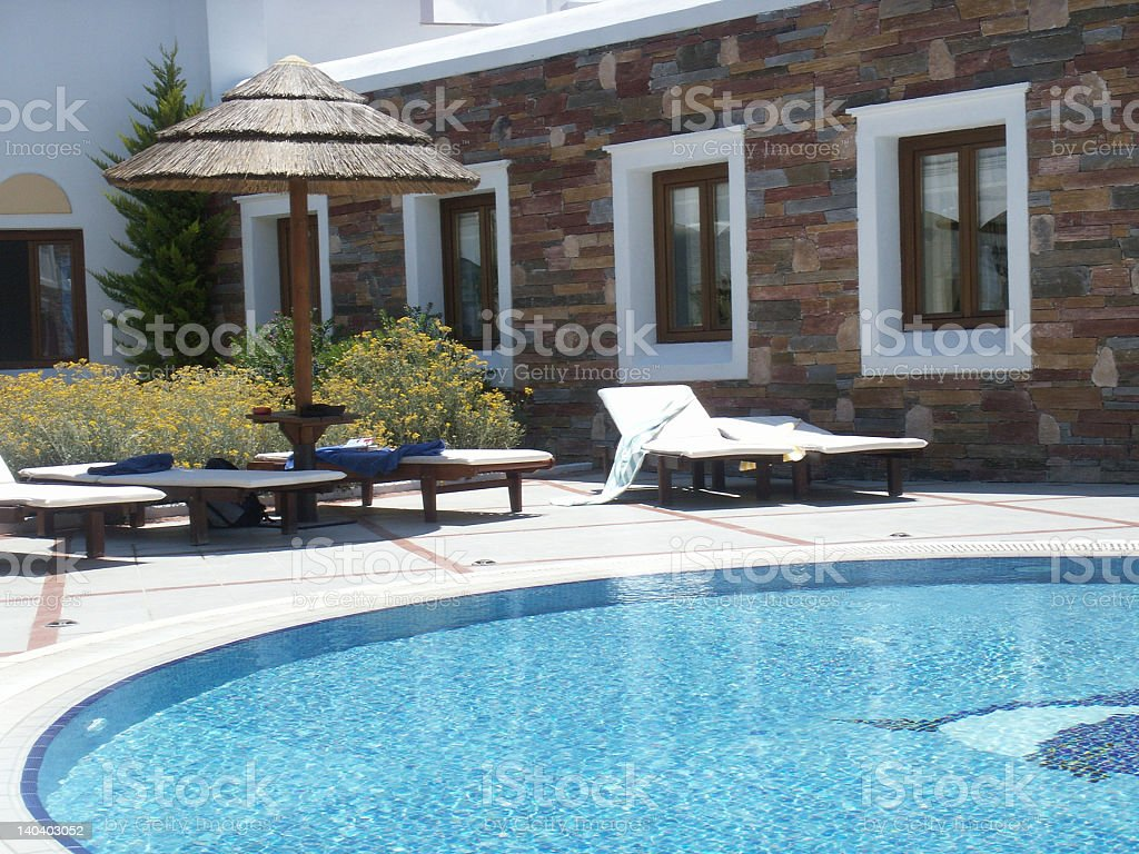 Hotel poolside royalty-free stock photo