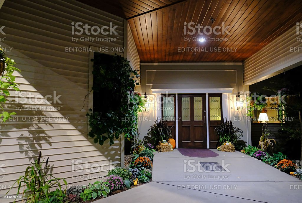 Hotel Reception During Halloween At Nightfall stock photo