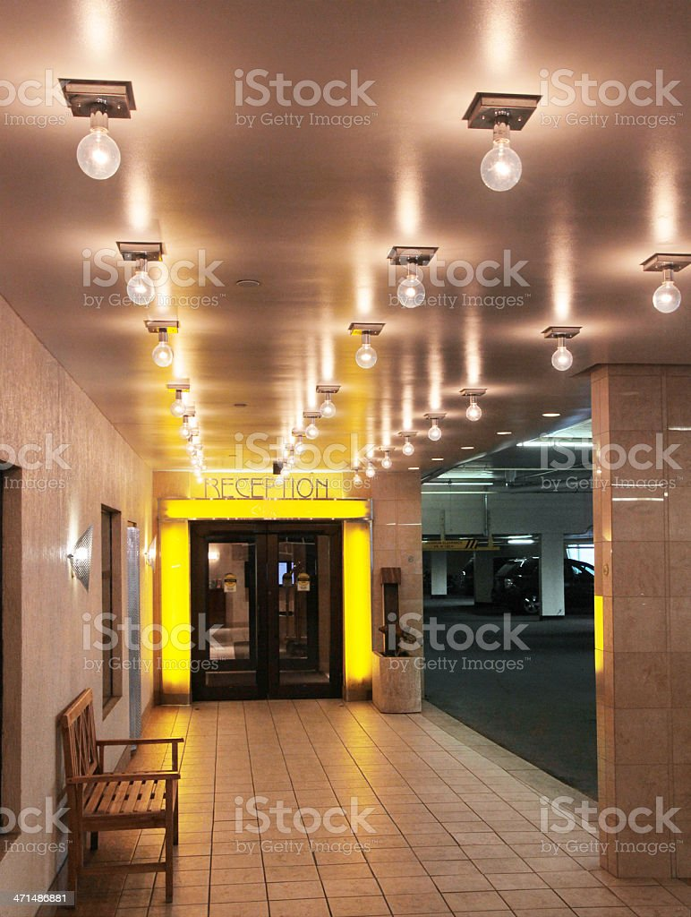 Hotel Reception in Lobby with Lights stock photo