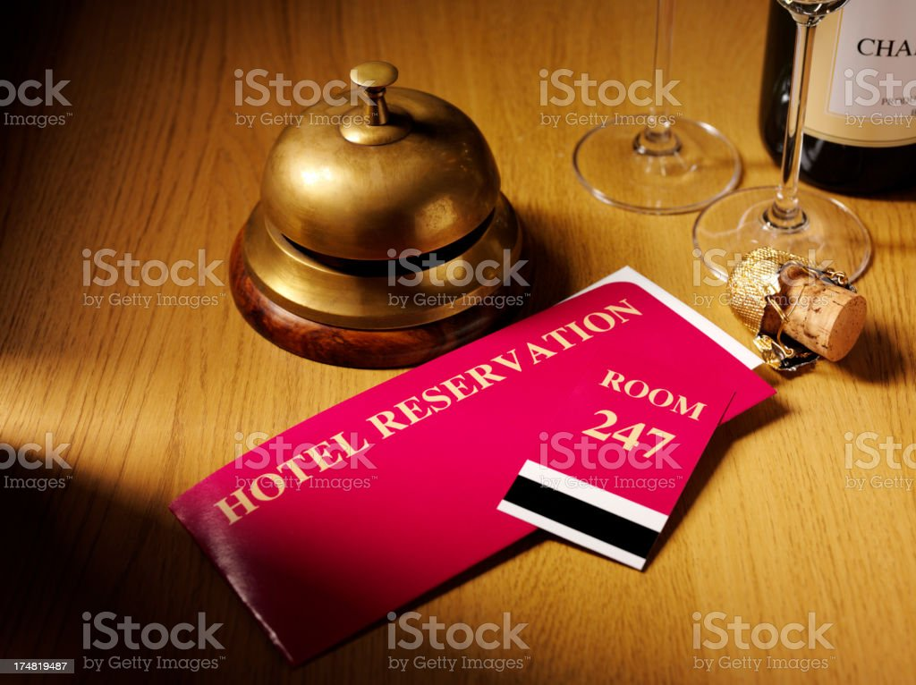Hotel Reservation Tickets on the Concierge Desk royalty-free stock photo