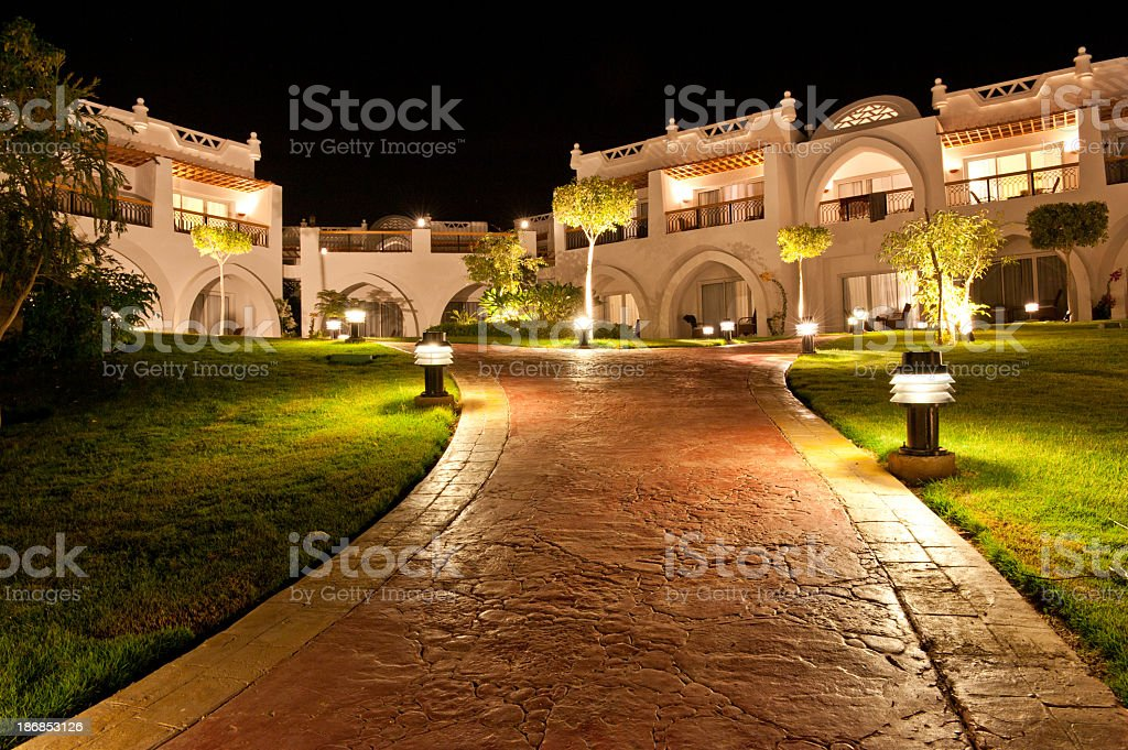 Hotel resort by night stock photo