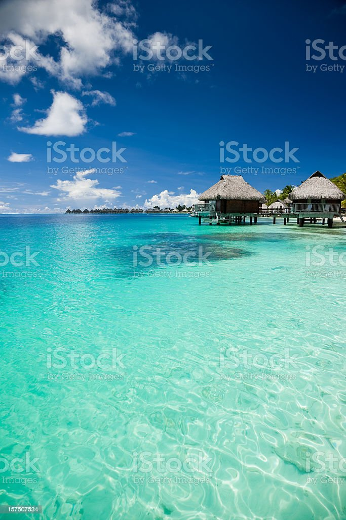 Hotel Resort in Paradise Lagoon royalty-free stock photo