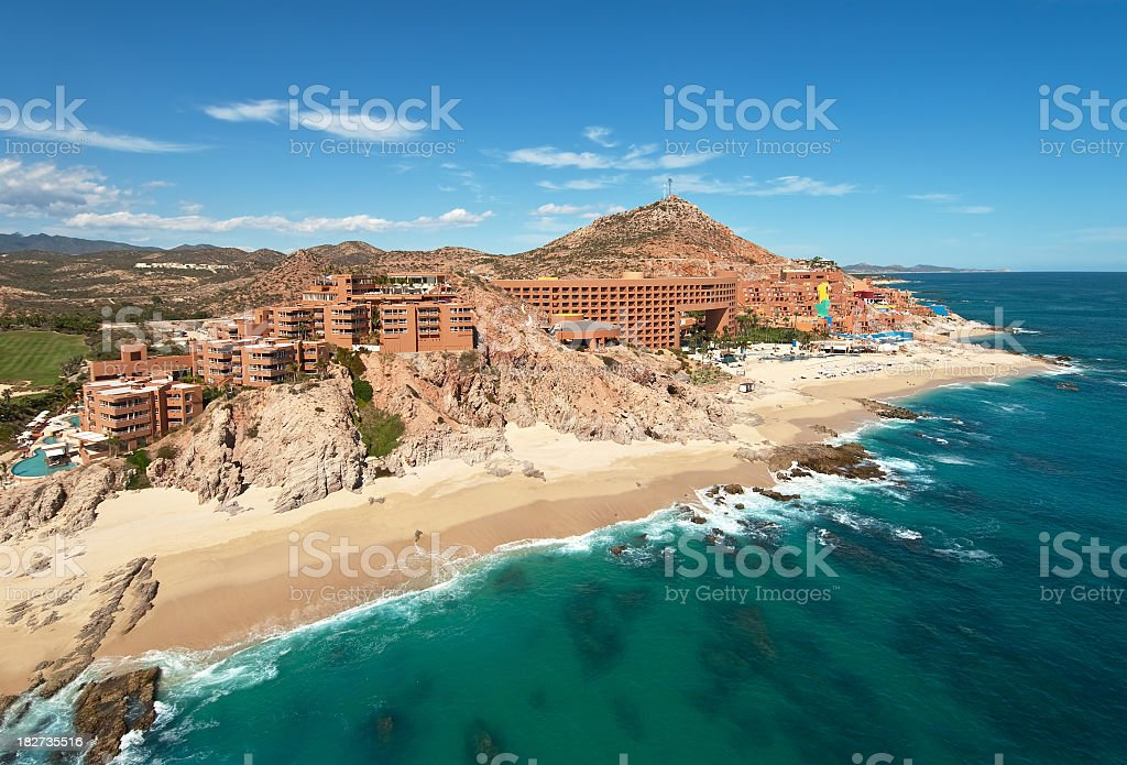 A hotel resort on the coast of Cabo Sam Lucas, Mexico stock photo