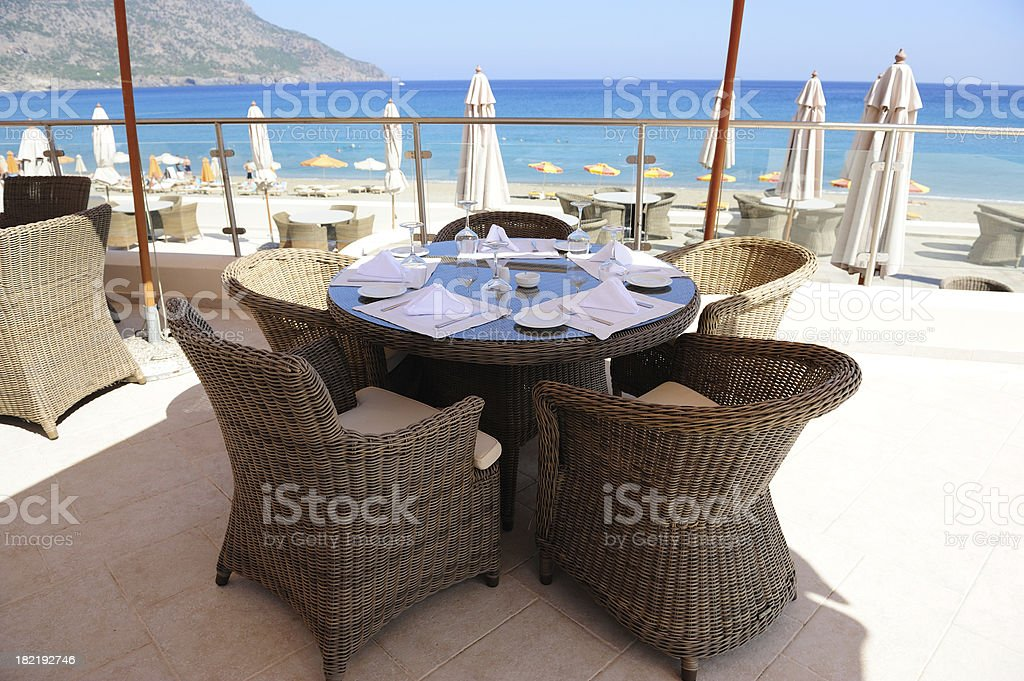 Hotel restaurant at the beach royalty-free stock photo