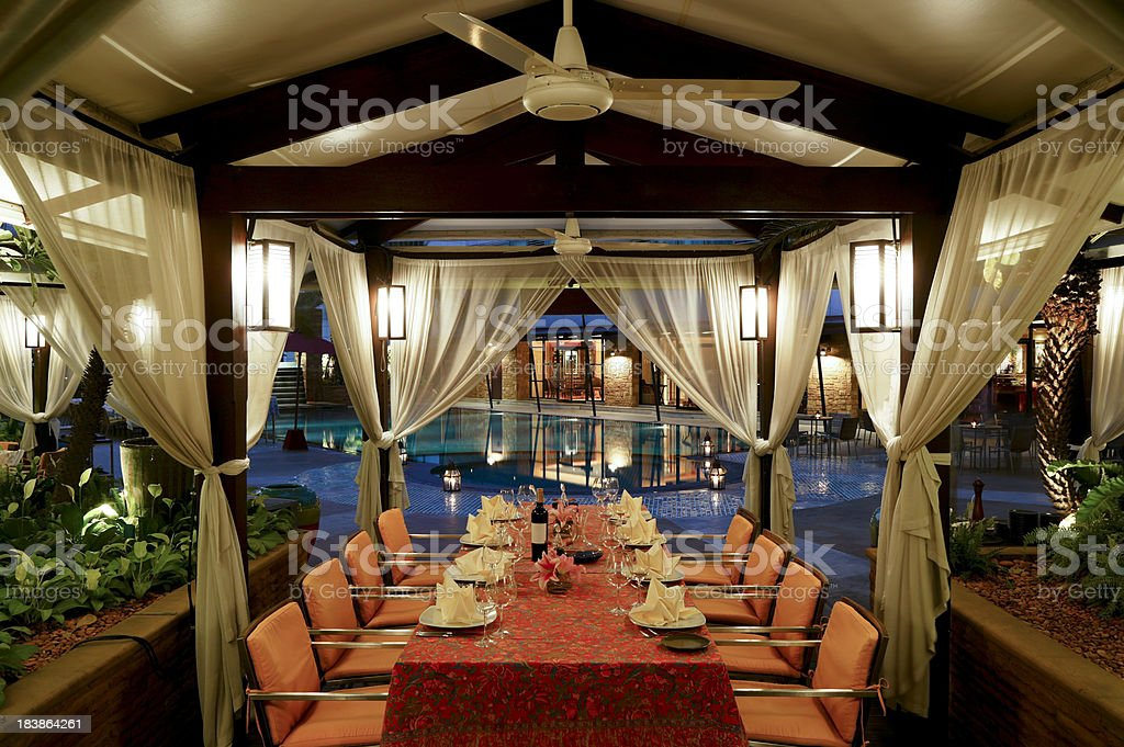 hotel restaurant gazebo bangkok stock photo