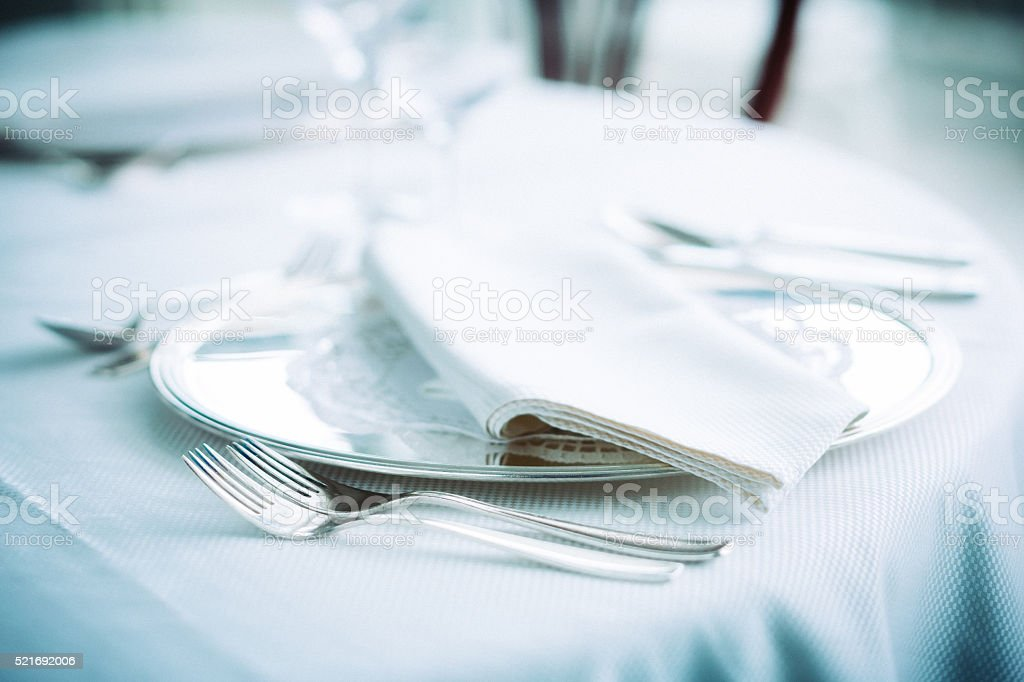 Hotel restaurant table stock photo