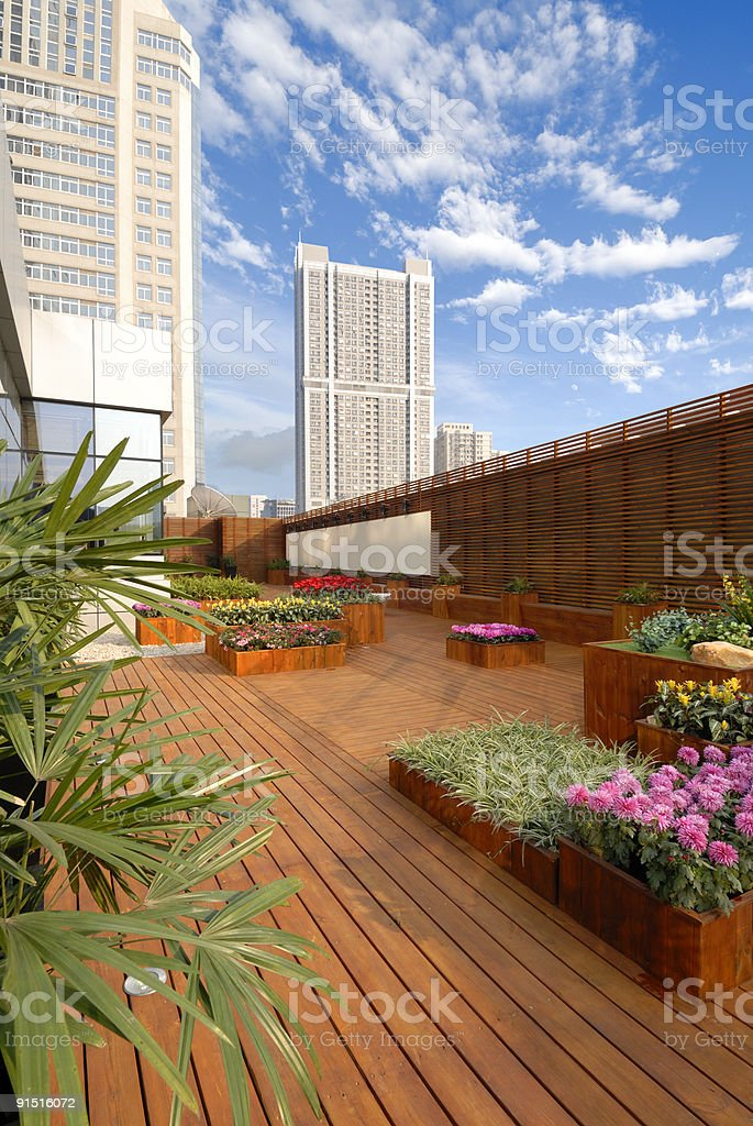 hotel roof-garden stock photo