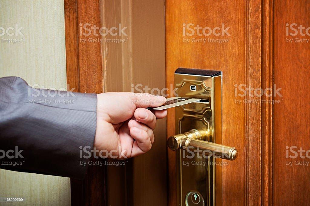Hotel room access card key stock photo