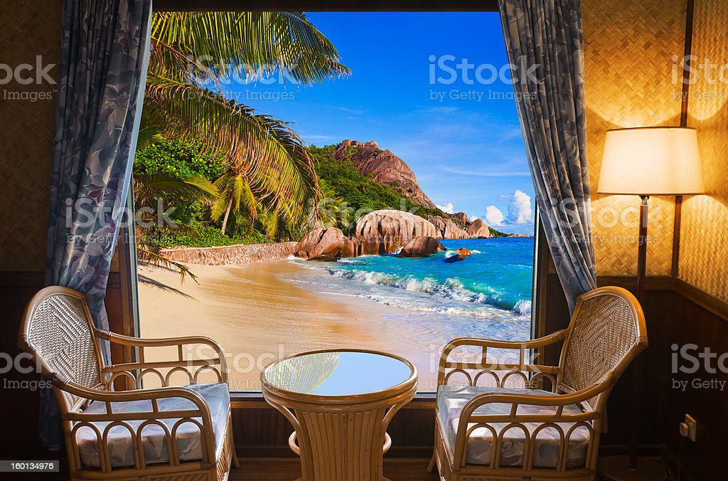 Hotel room and beach landscape royalty-free stock photo
