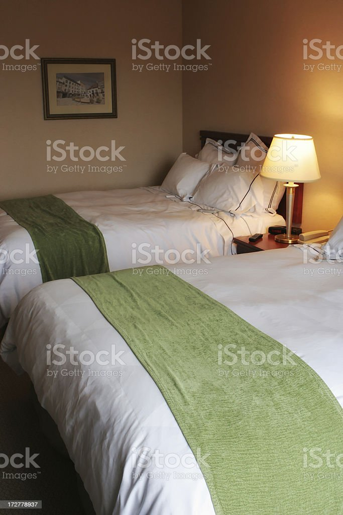 Hotel Room and Beds royalty-free stock photo