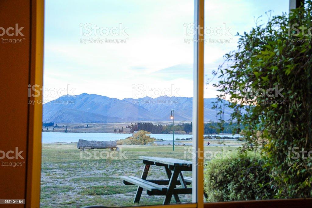 Hotel Room at the Side of Lake Tekapo, New Zealand stock photo