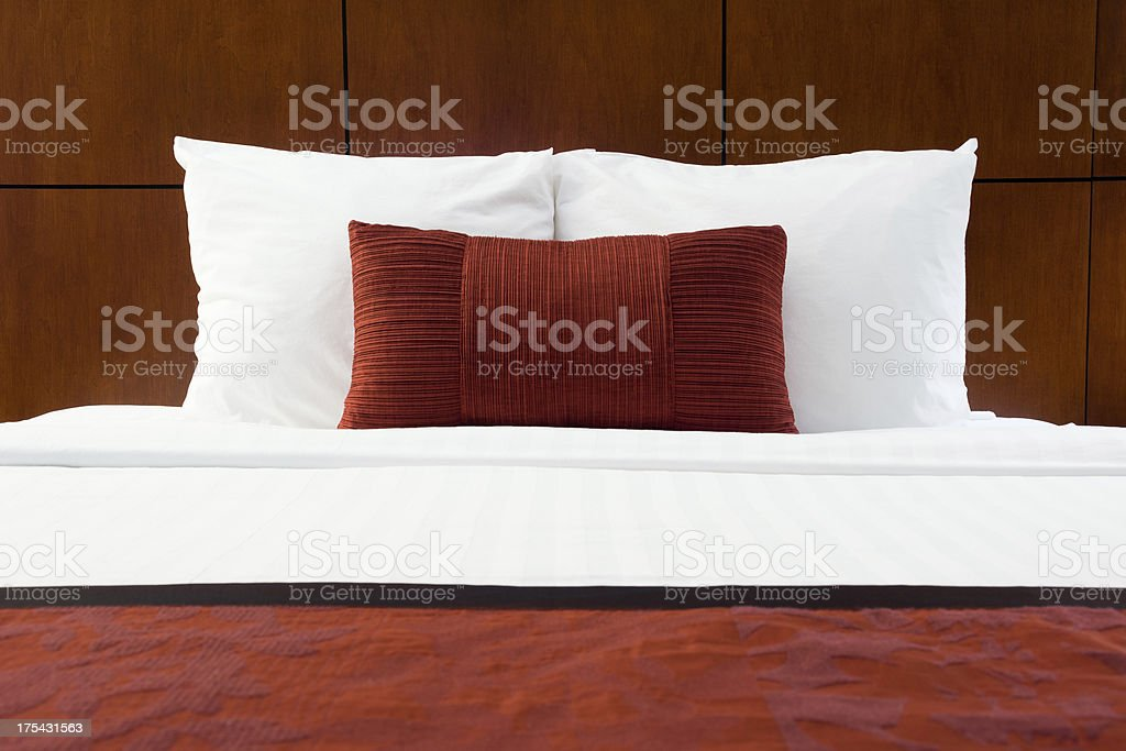Hotel Room Bed and Pillows royalty-free stock photo