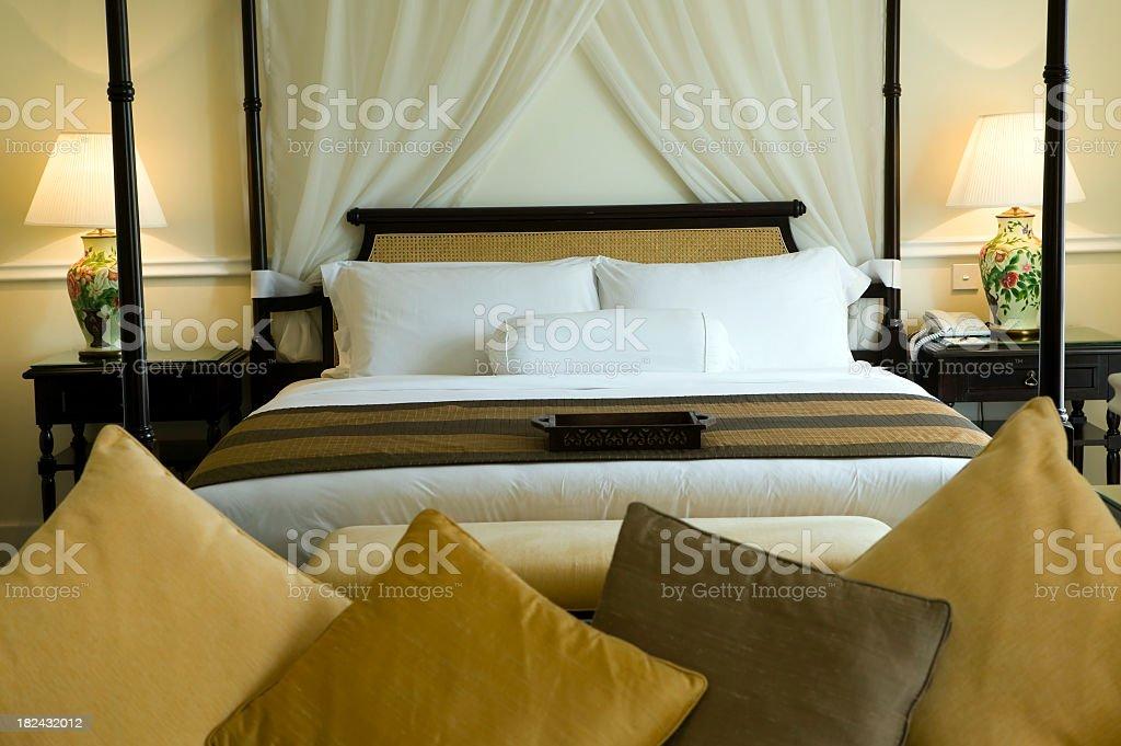 hotel room bed malaysia royalty-free stock photo