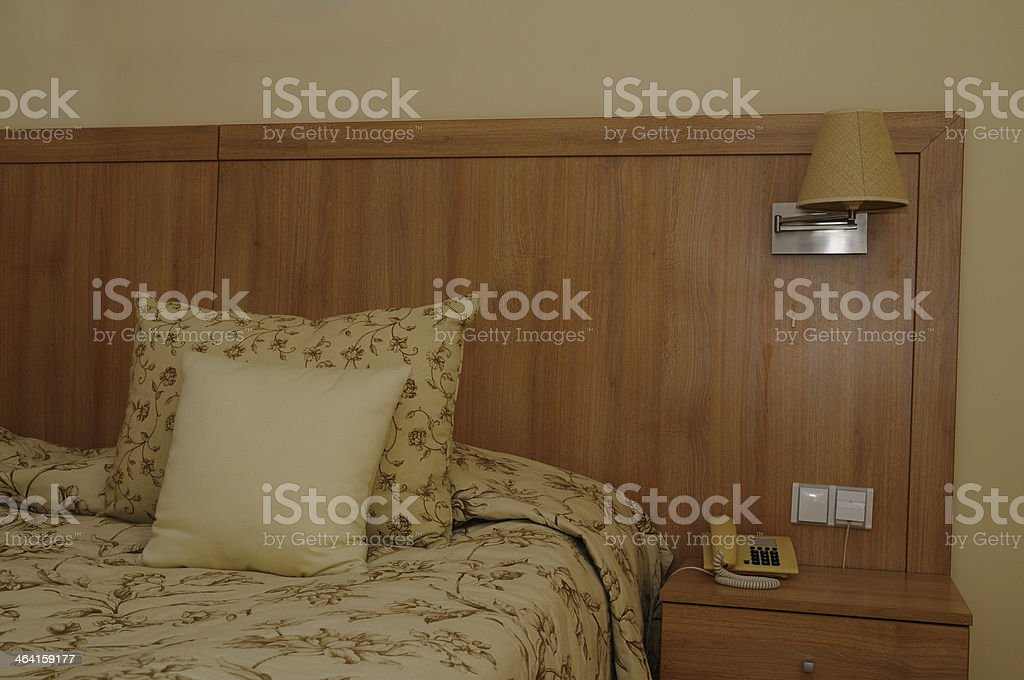Hotel room bed royalty-free stock photo