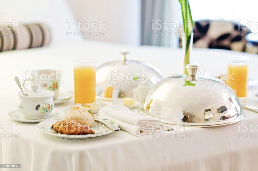 Hotel room breakfast stock photo