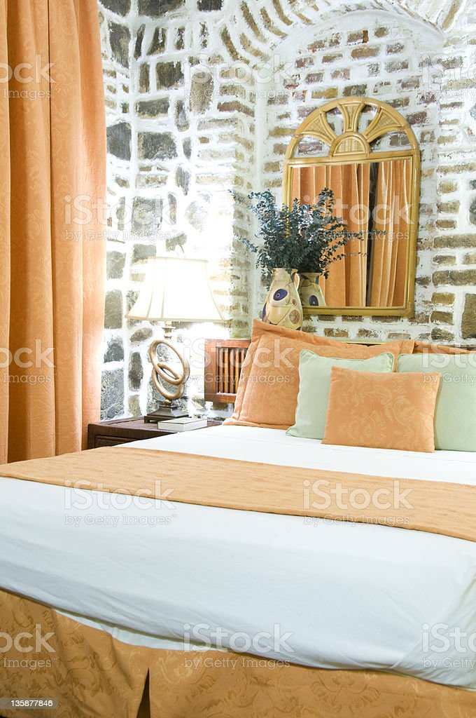 hotel room former sugar mill cobblestone Kingstown St. Vincent Grenadines stock photo