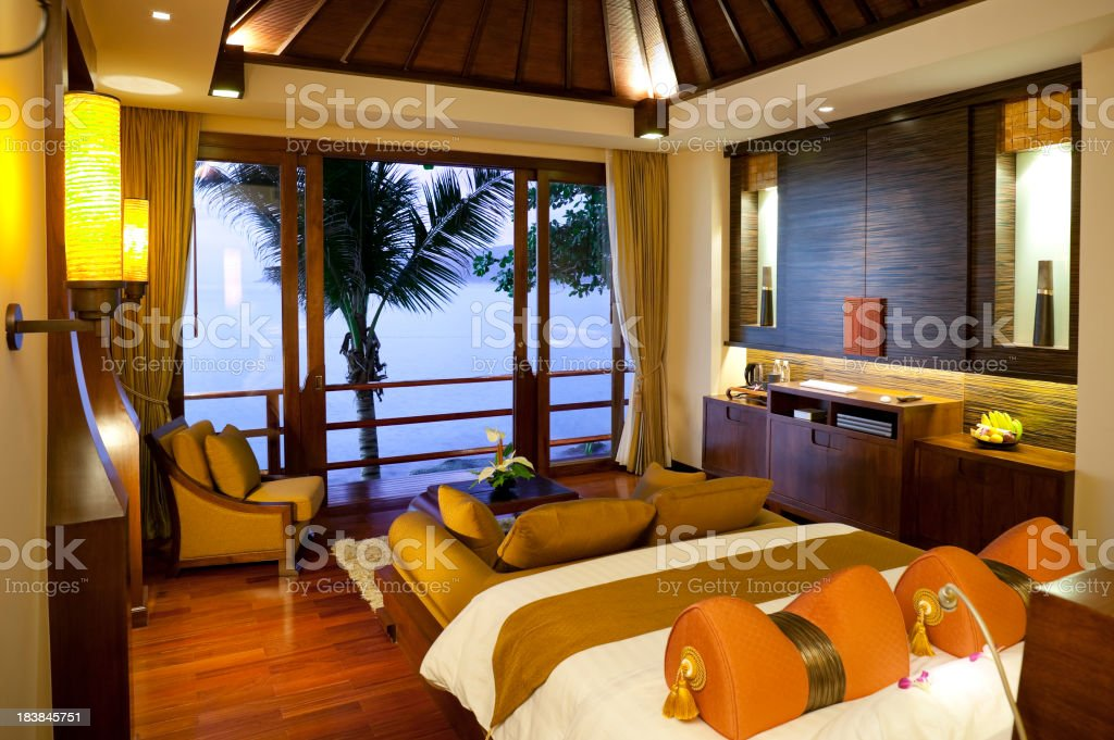 A hotel room in Phuket, Thailand overlooking the sea stock photo
